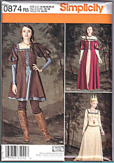 Simplicity 0874 14-22 Sewing Pattern Medieval/renaissance Costume 3 Styles