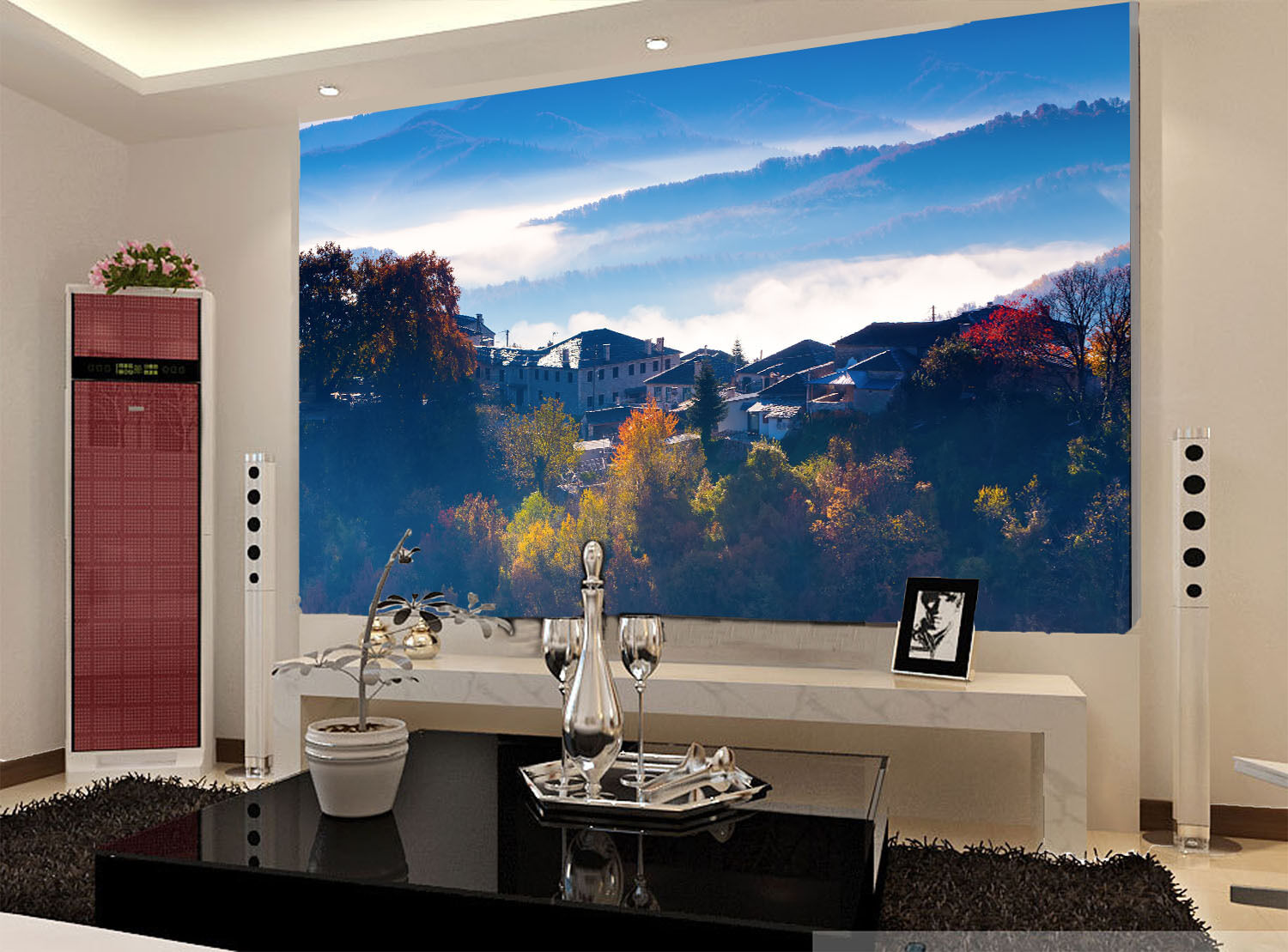 3D Mountains Town 884 Wall Paper Wall Print Decal Wall Deco Wall Indoor Murals