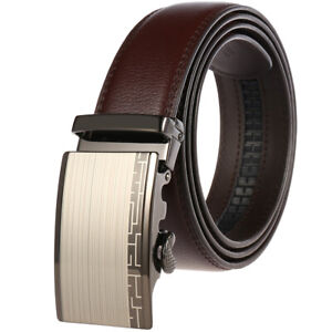 Luxury-Men-039-s-Real-Leather-Belt-Automatic-Buckle-Strap-Suit-Waistband-Gift-Jeans