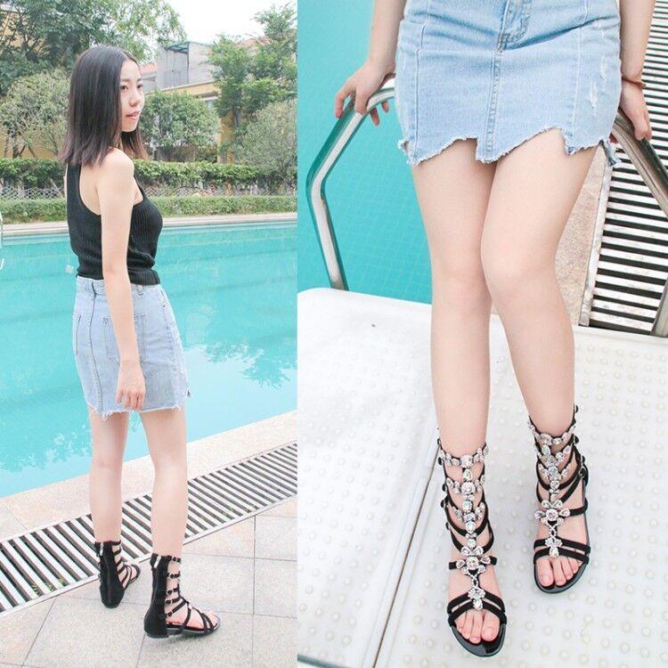 Gorgeous Women Women Women Gladitor Sandals Rhinestone Open Toe Beautiful Black shoes Woman 605056