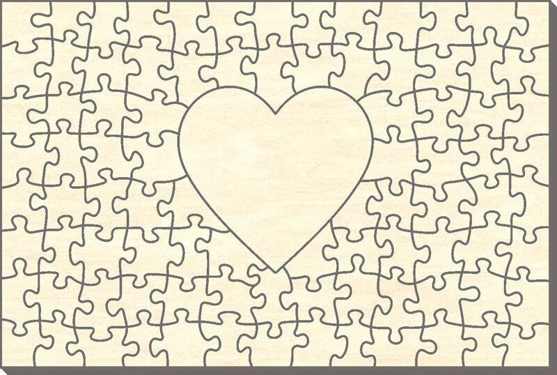 Offerte iniziali LEGNO-puzzle rettangolo con cuore, 91 parti, 60x40 cm, per dipingere anche