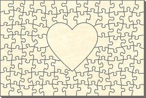 zum Selbst Bemalen 60 x 60 cm 34 Teile Blanko Holz-Puzzle Herz in Herz