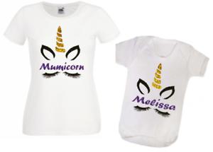 Custom mother/'s day mumicorn unicorn matching t-shirt and baby vest set glitter