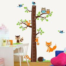 Tabla de medición de árbol Fox Arte Pared Adhesivo Calcomanía Transferir Gráfico Stencil Home