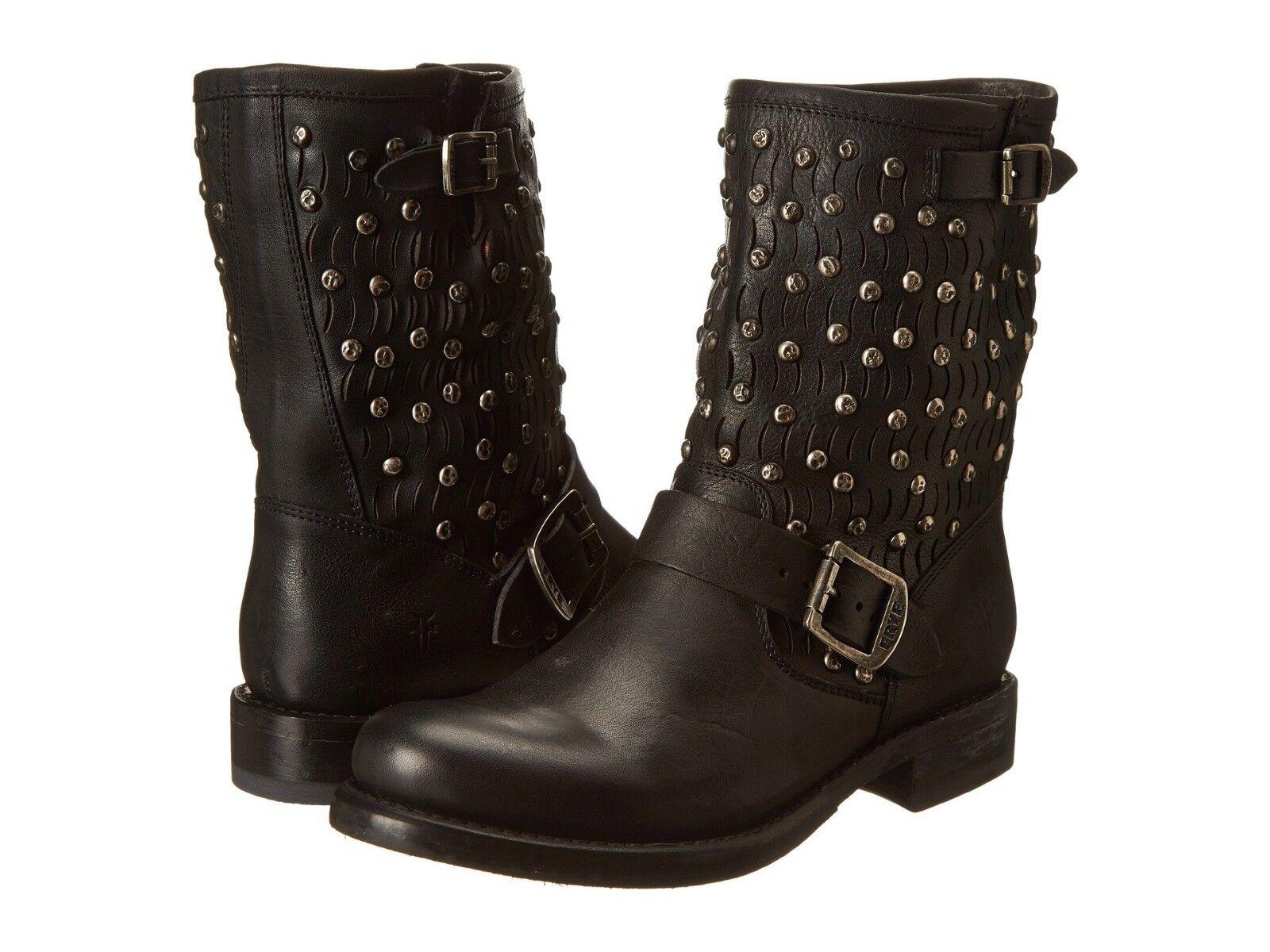 FRYE Jenna Cut Stud Short Moto Black Distressed Boot Size 5.5 NEW IN BOX $428.00