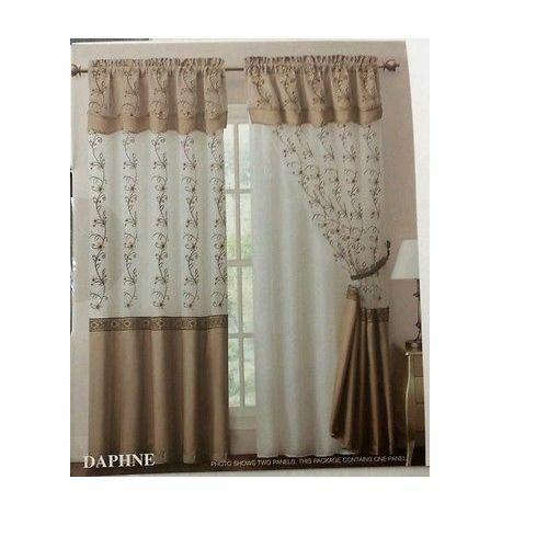 1 EMBROIDERY PANEL WITH ATTACHED DOUBLE VALANCE AND BACKING DRAPE /CURTAIN NEW!!