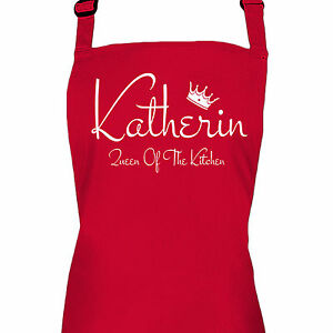 personalised red ladies queen of the kitchen apron by inspired rh ebay co uk