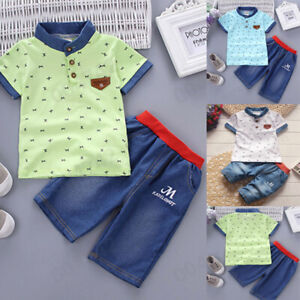 shorts Set Baby Kids Boys Summer Casual Outfit Short Sleeve shirt