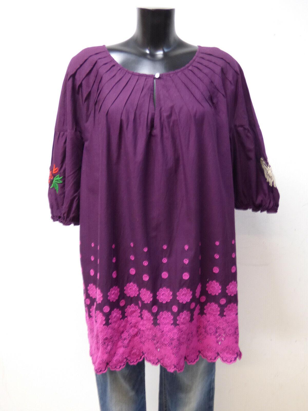 ODD MOLLY tunique haut T L - 3 FR violet foncé avec motif + Article neuf. (Q 2908)