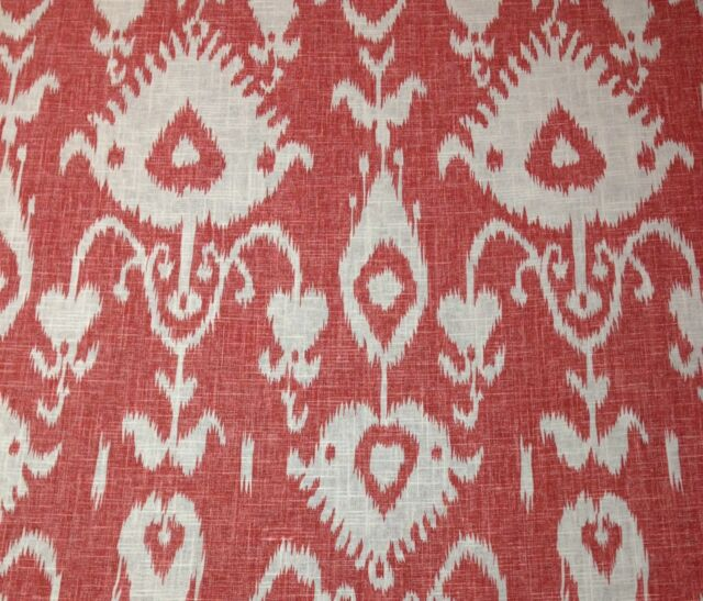 "BALLARD DESIGNS MALABAR CORAL RED IKAT 100% LINEN DESIGNER FABRIC BY YARD 54""W"