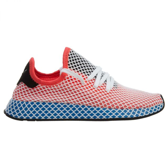 newest 64190 6d222 Adidas Deerupt Runner Mens CQ2624 Red Blue Black White Running Shoes Size 9