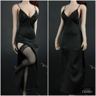 1//6 Female Black Evening Dress Clothes Set For Hot Toys Phicen 12in Figure