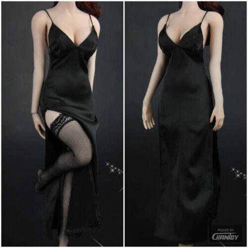 In magazzino 1//6 nero donna abito da sera Calze vestiti Set per Hot Toys