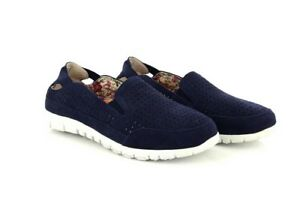 Diszipliniert Boulevard Nancy Twin Gusset Punched Leisure Casual Canvas Trainer Shoe Navy Real Kleidung & Accessoires