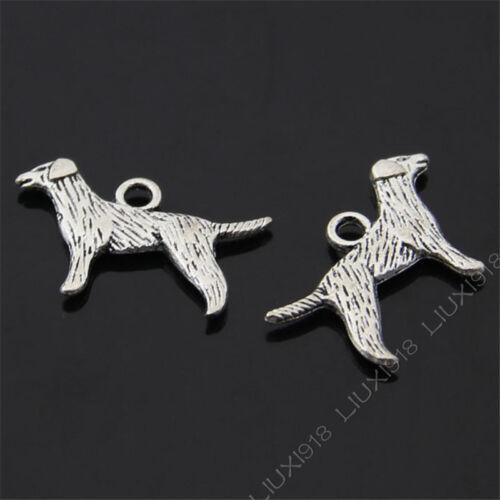 15x Dog Animal Pendant Charms Bead DIY Jewelry Making Retro Tibetan Silver 460MF