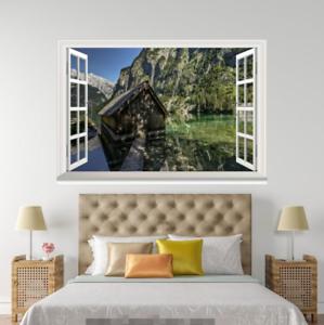 3D Hills House Lake 60 Open Windows Mural Wall Print Decal Deco AJ Wallpaper Ivy