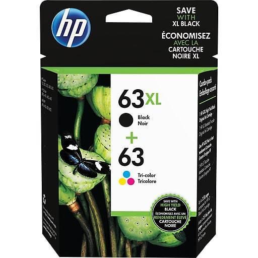HP 63XL Black/63 Standard Tri-color Ink Cartridge, High Yield, 2/pack,L0R48AN