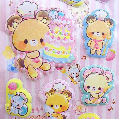 SUPER PUFFY Japanese kawaii teddy bear stickers! Cute bakery cake stickers!