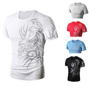 Fashion-Men-039-s-Slim-Fit-Short-Sleeve-Summer-Casual-Tee-Shirt-T-shirts-Tops-Blouse