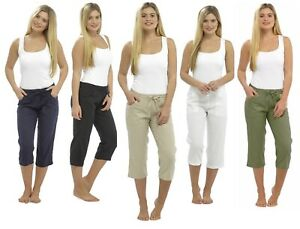 Ladies Cropped Linen Trousers Womens 3//4 Length Shorts Size 10 12 14 16 18 20 22