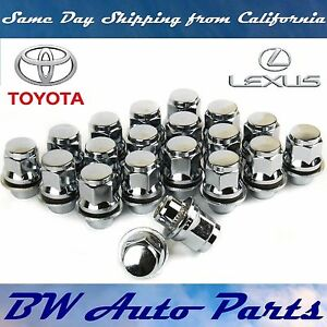 20-PCs-TOYOTA-LEXUS-OEM-FACTORY-CHROME-MAG-LUG-NUTS-WITH-WASHERS-12X1-5MM