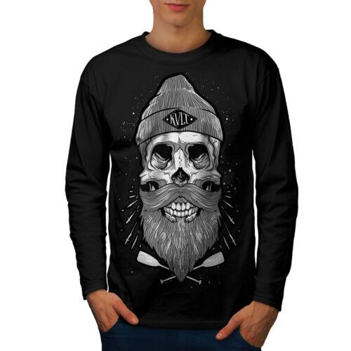 Crâne Barbe Cool Fashion Hommes T-shirt à manches longues Nouveauwellcoda
