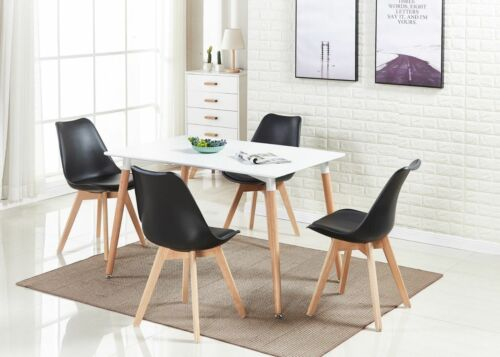 Tulip Wooden and Plastic Dining Chair Retro Chairs Eiffel Style Chairs 3 Colours Black,Grey,White