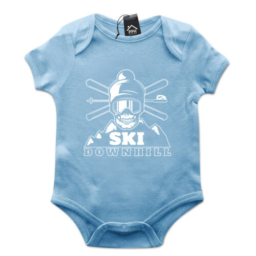Crâne de ski descente drôle ski babygrow cadeau baby grow newborn snowboard 490