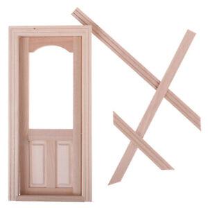 1-12-Dollhouse-Miniature-Unpainted-Wooden-Door-Furniture-Model-DIY-Accessorie-YK