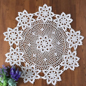 White-Vintage-Handmade-Crochet-Doily-Round-Lace-Table-Cloth-Mats-Doilies-60cm