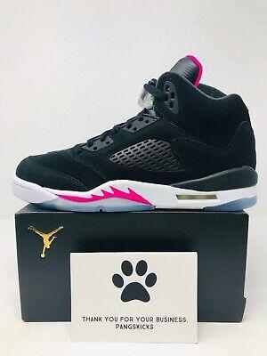Nike Air Jordan 5 V Black Deadly Pink White GS Grade School Sz 5.5 440892-029