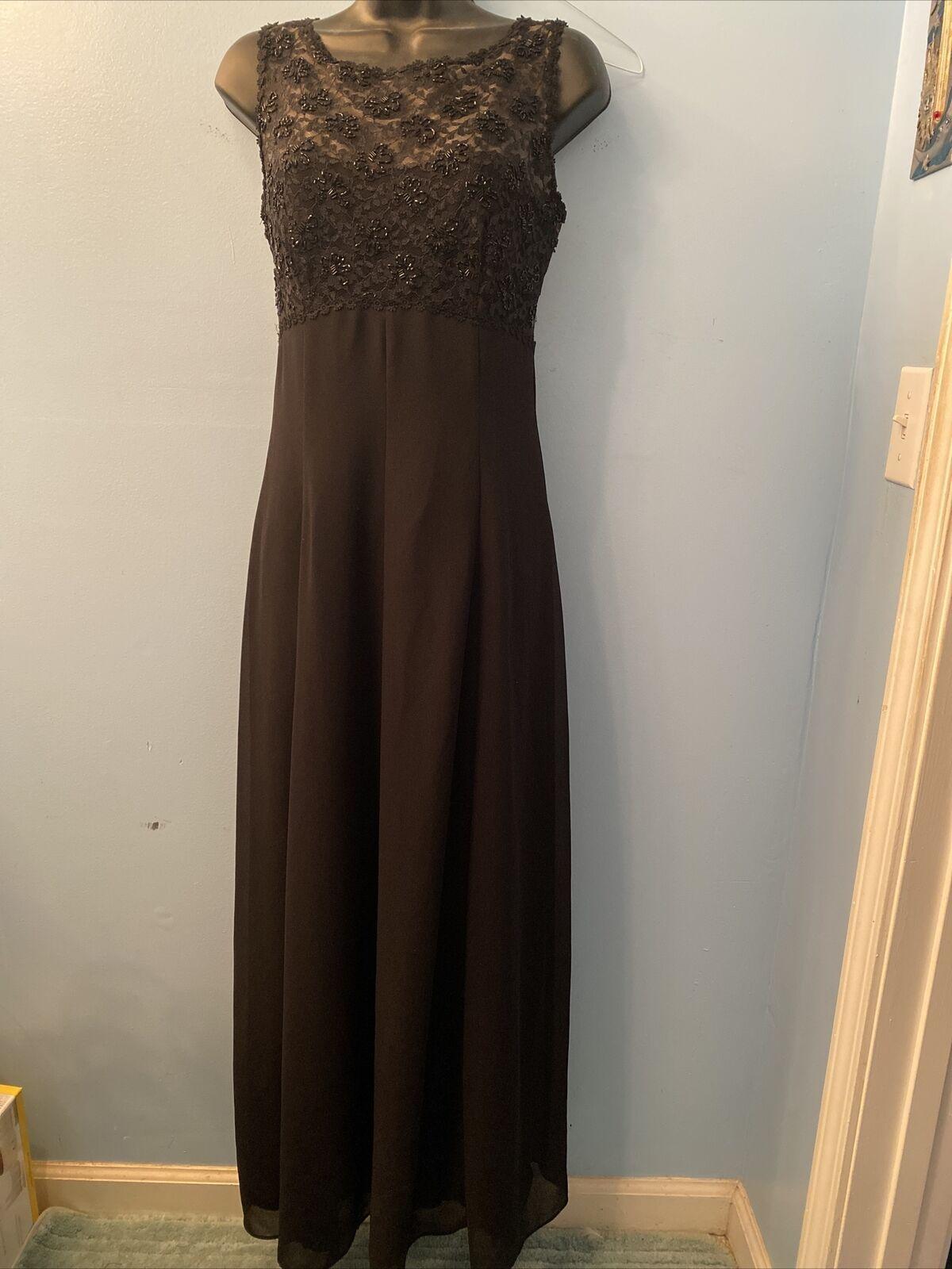 EVER BEAUTY Sz 4 Lace Bodice Sleeveless Black Beaded Evening Gown FullLength EUC
