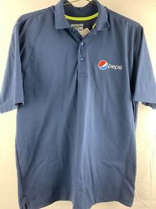 Pepsi-Soda-Pop-Drink-Blue-3-Button-Polo-Shirt-Men-039-s-Size-M