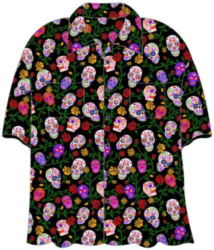 "SUGAR SKULLS /""DAY OF THE DEAD/"" Hawaiian Camp Shirt BRAND NEW! by David Carey"