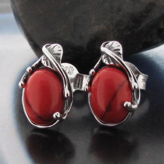 Coral - Silver 925 - Ear Stud Earring S0170
