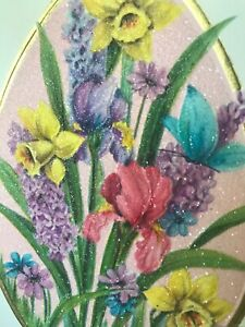 Vintage-Easter-Card-Sugared-Glitter-Purple-Hyacinth-Butterfly-Daffodil-Hallmark