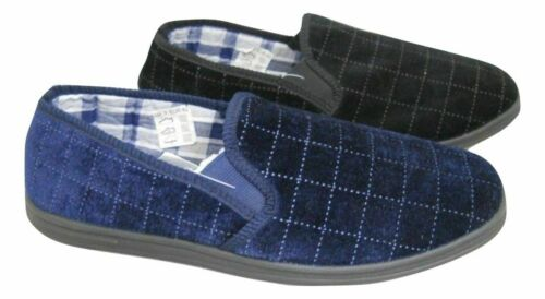 MENS CHECK VALOR MEMORY FOAM FAUX SUEDE SLIPPERS PULL ON GUSSET SHOES SIZE 6-11
