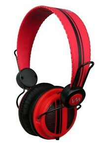 New-VM-Audio-SRHP5-Stereo-MP3-iPhone-iPod-On-Ear-DJ-Headphones-Monitor-Red