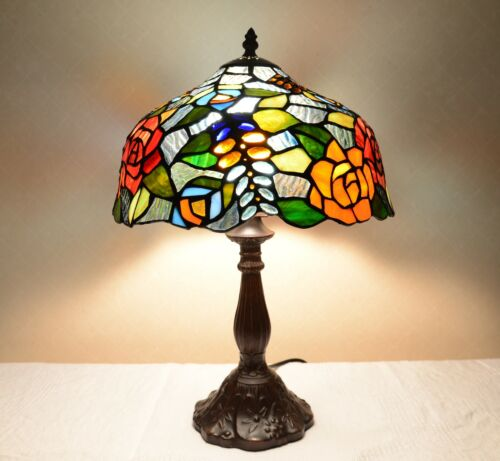 """12/""""W Rose Flowers Stained Glass Handcrafted Table Desk Lamp Zinc Base!"""
