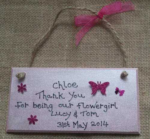 Mariage personnalisé pour vous remercier Plaque Cadeau Demoiselle D/'Honneur Flowergirl