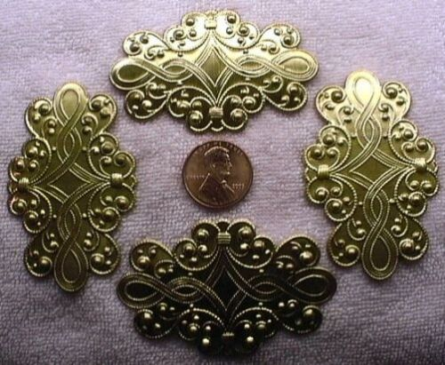 CHOICE COLOR VINTAGE GOLD or BRASS 60mm x 38mm Victorian Fancy Scrolled Bow