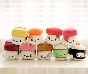 Sushi-Japan-6-034-Plush-Pillow-Cushion-Doll-Toy-x9-Lot-Gift-Bedding-Room-Home-Decor