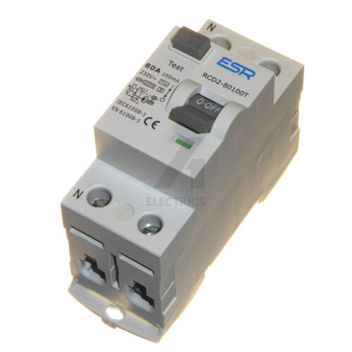 time delay RCD 80A 100mA trip safety switch double pole 80 amp 230V DP 2P new