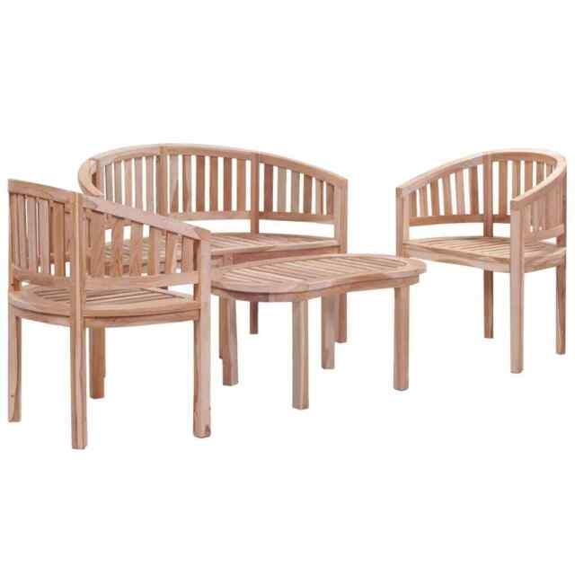 Pleasing Vidaxl Solid Teak Wood Garden Lounge Set 4 Piece Outdoor Patio Bench Furniture Creativecarmelina Interior Chair Design Creativecarmelinacom