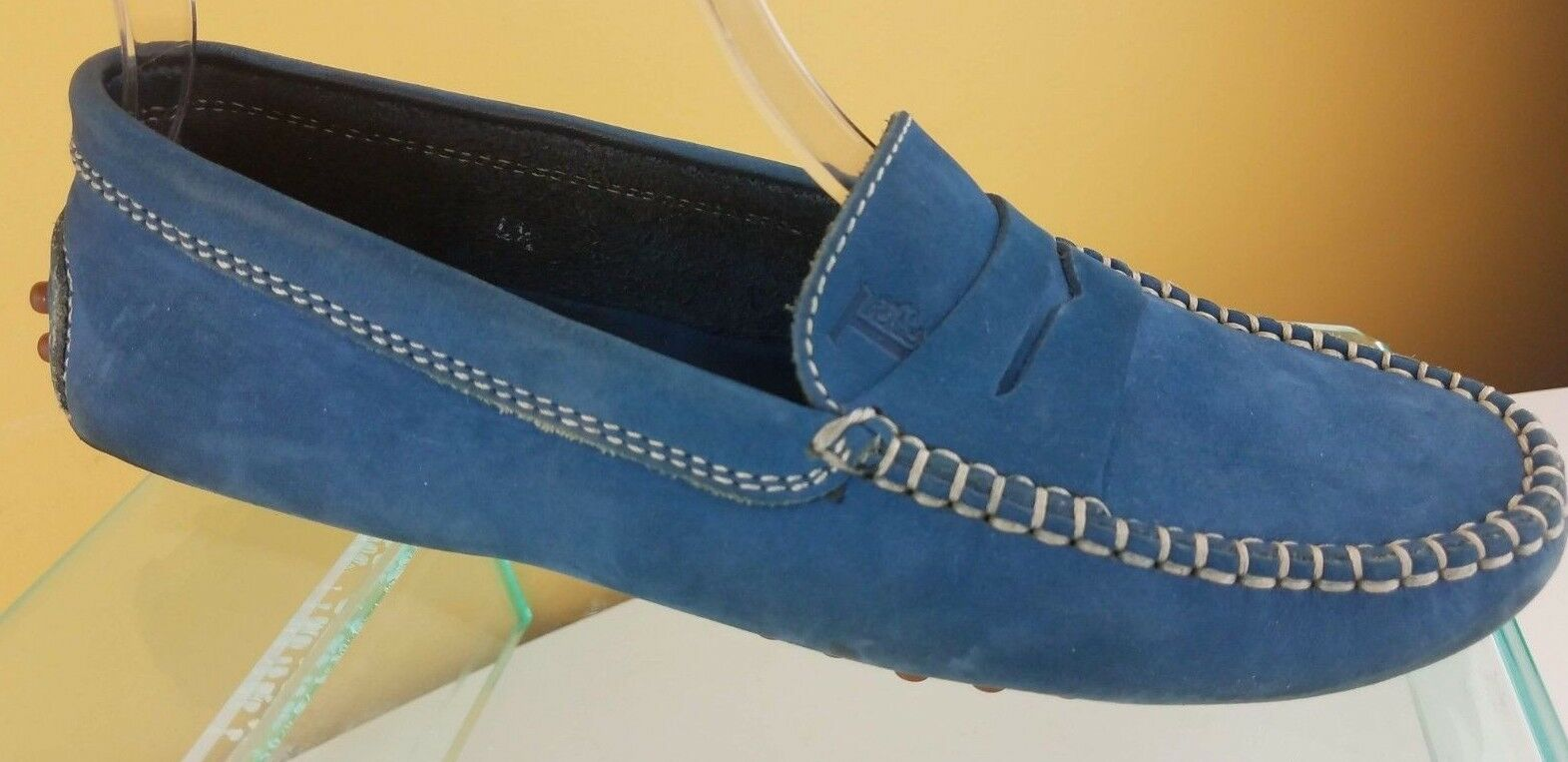Tod's Gommini blu Suede Leather Slip On Casual Driving scarpe donna Sz 4.5