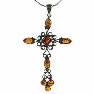 BALTIC-AMBER-STERLING-SILVER-925-CROSS-PENDANT-NECKLACE-SNAKE-CHAIN-JEWELLERY