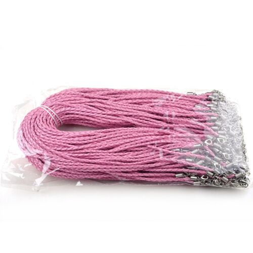 10 Strands Waxed Nylon Braided Leather Cord Necklace With Lobster Clasp