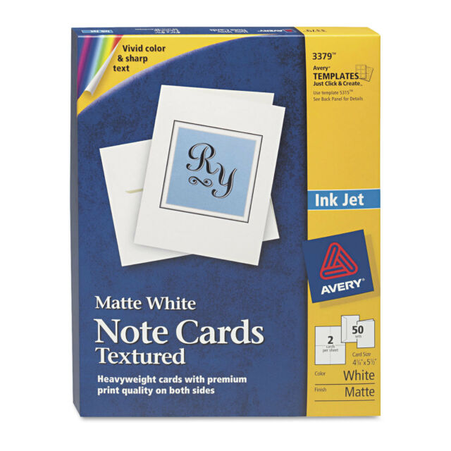 avery textured note cards inkjet 4 1 4 x 5 1 2 uncoated white 50