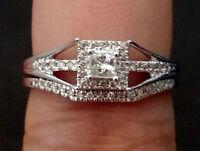 White Gold Princess Cut Halo Diamond Vintage Antique Bridal Set Wedding Ring