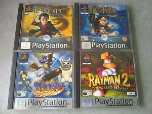 Menge-4-ps1-Playstation-Game-Bundle-Pal-mit-Handbuecher-Potter-Rayman-Spyro